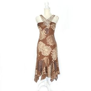 Brown Floral Handkerchief Hem Halter Midi Dress